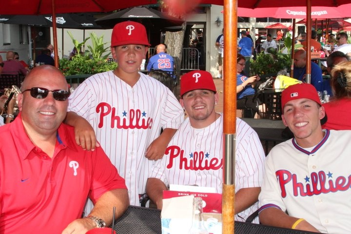 My boys in Chicago enjoying the pre game fun on a very HOT day! It was the game roy halladay got heat stroke on the mound.....what a day!!!!! For these phillies fans