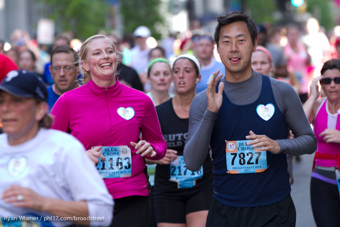 Heather Hopkins, Emily Strong, Peter Kim at the Broad Street Run.