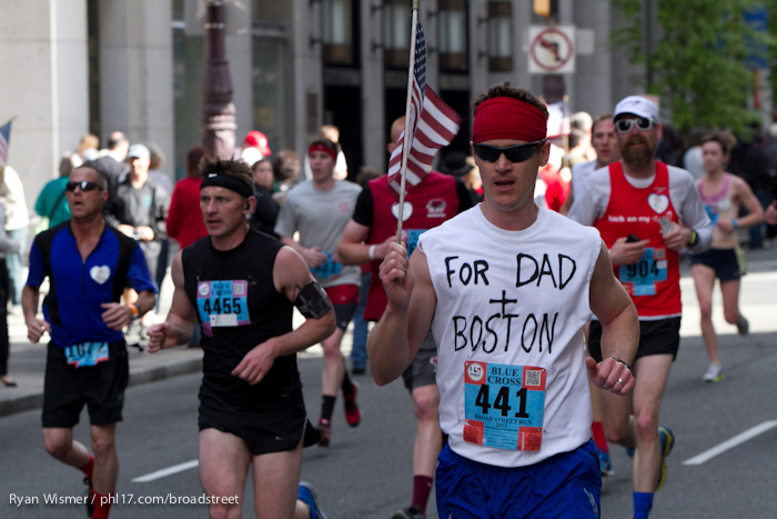 Michael Foley, Christopher Graves, Rob Kelly, Eric Voboril at the Broad Street Run 2013