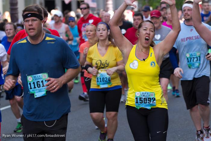Mike Jenkins, Heather Cundiff, Stephanie Montanez, John Martin at the Broad Street Run 2013