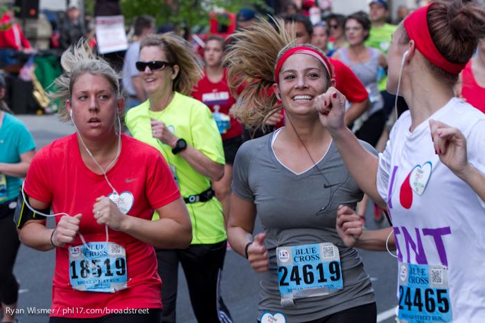 Stephanie Frank, Ashley DeCerbo, Jennifer Cloud at the Broad Street Run 2013