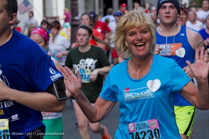 Peggy Reinholt at the Broad Street Run 2013