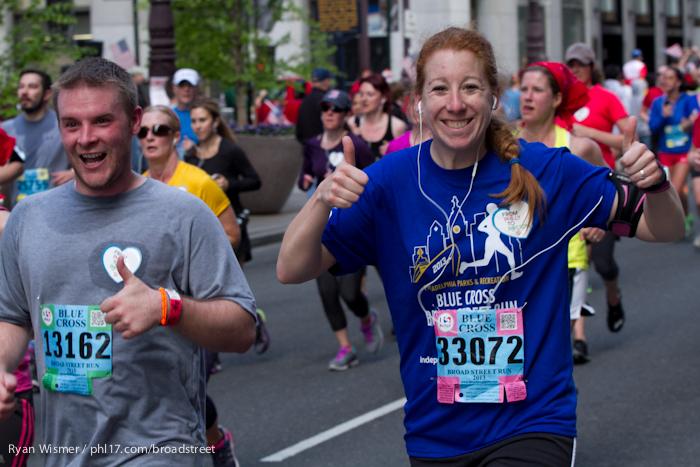 Paul Andris, Sarah Weiss at the Broad Street Run 2013