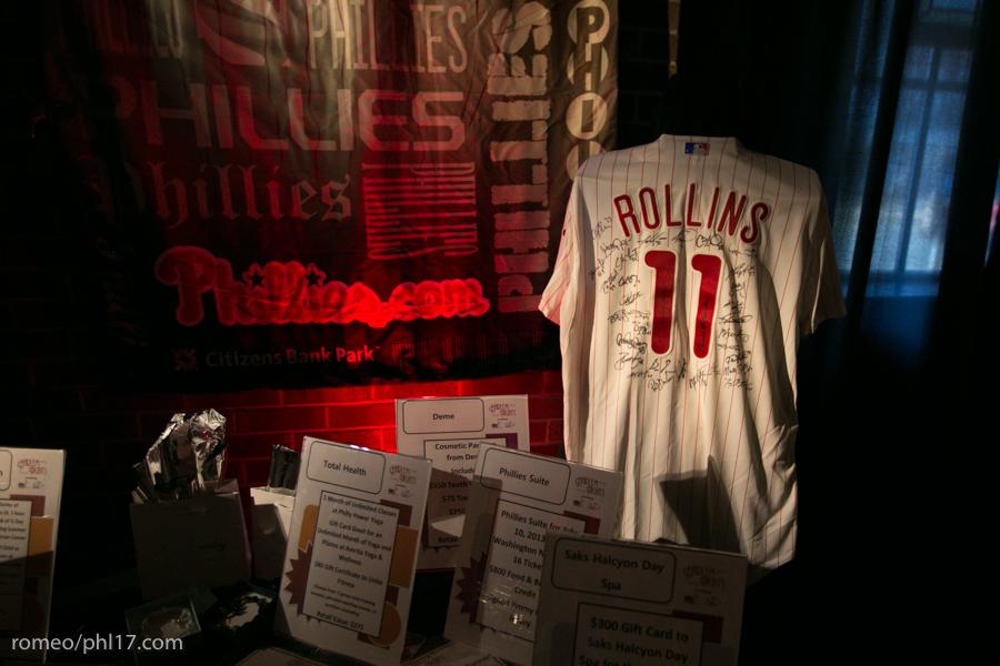 Phillies memorabilia at Jimmy Rollins Harlem Nights 2013