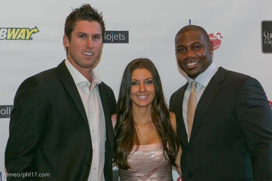 "Jonathan Pettibone, Krystle Howard and Ryan Howard at the ""Stand Up For Literacy"" Charity Event"