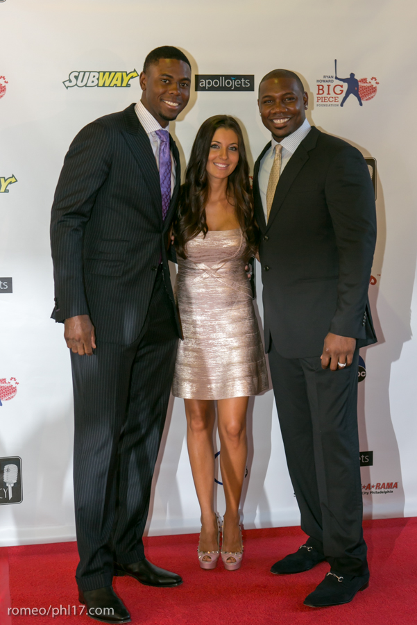 "John Mayberry Jr, Krystle Howard and Ryan Howard at the ""Stand Up For Literacy"" Charity Event"