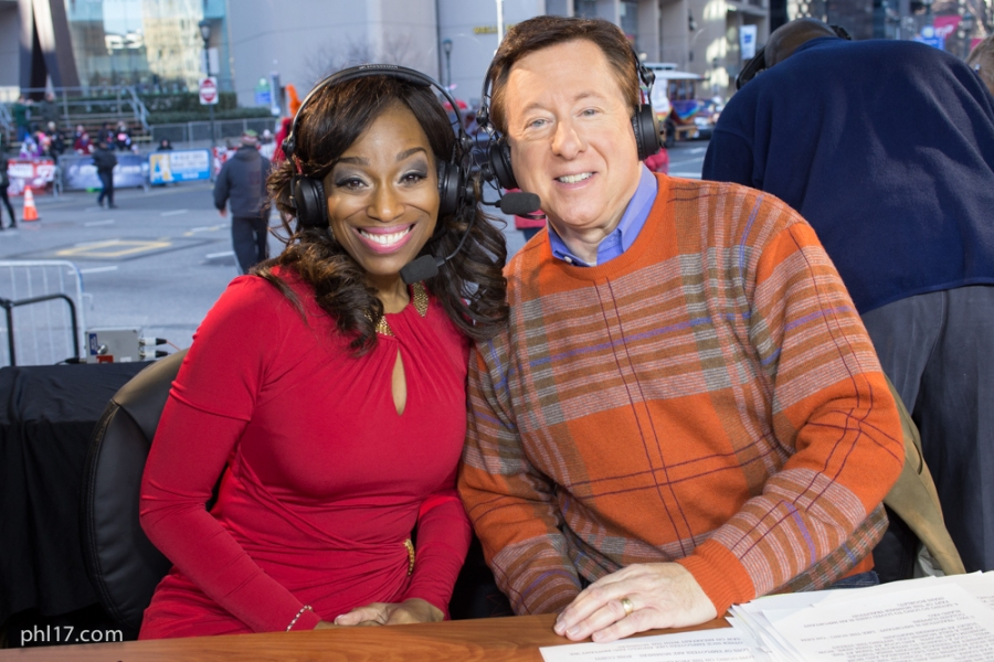 Steve Highsmith and Jennifer Lewis-Hall in the Booth at the 2015 Mummers Parade